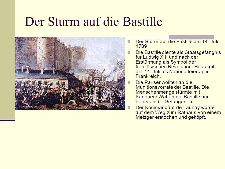 Der Sturm auf die Bastille Der Sturm auf die Bastille am 14. Juli 1789 Die Bastille diente als Staatsgefängnis für Ludwig XIII und nach der Erstürmung