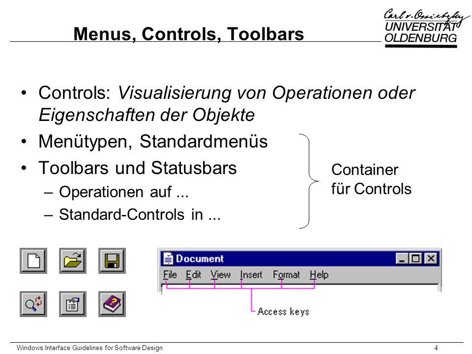 Windows Interface Guidelines for Software Design5 Secondary Windows Charakteristika, Unterschiede zu primary Windows Property Sheets und Property Inspectors Dialogboxen, Standard-Dialogboxen Palette Windows Message Boxes Pop-up Windows