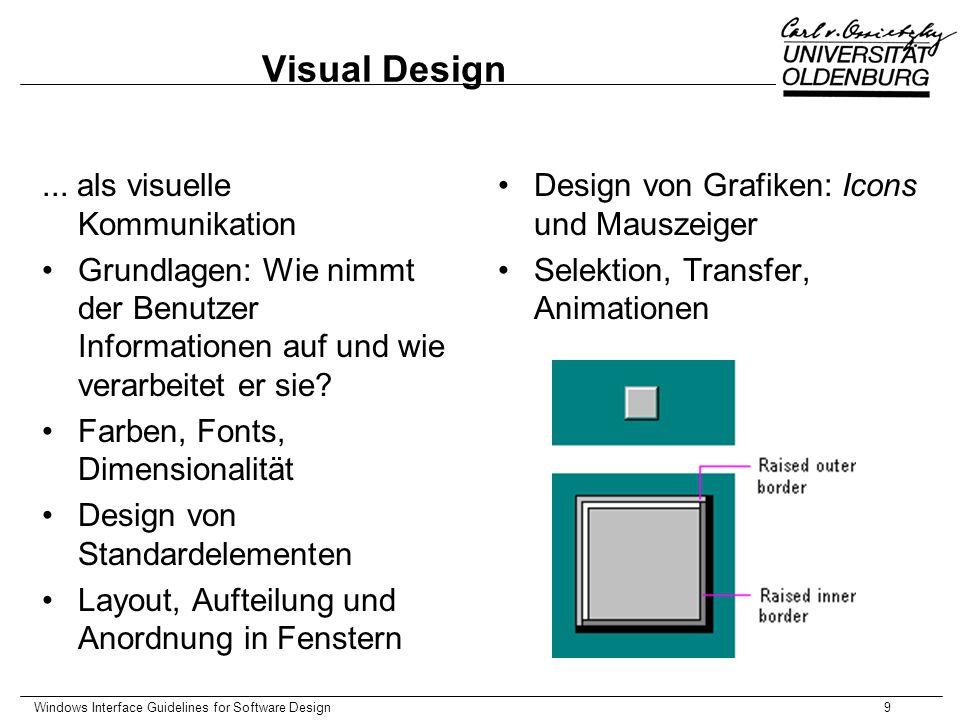 Windows Interface Guidelines for Software Design10 Special Design Considerations Sound Unterstützen eines mgl.