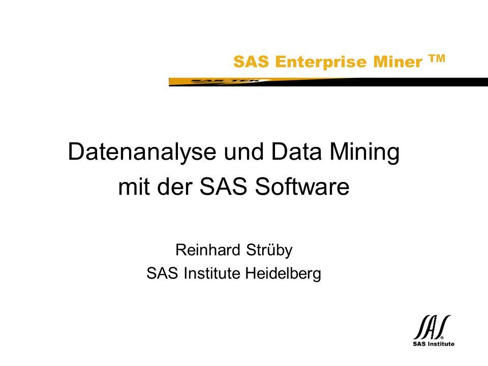 SAS Technical Expertise and Know-how ® Datenanalyse und Data Mining mit der SAS Software Reinhard Strüby SAS Institute Heidelberg SAS Enterprise Miner TM