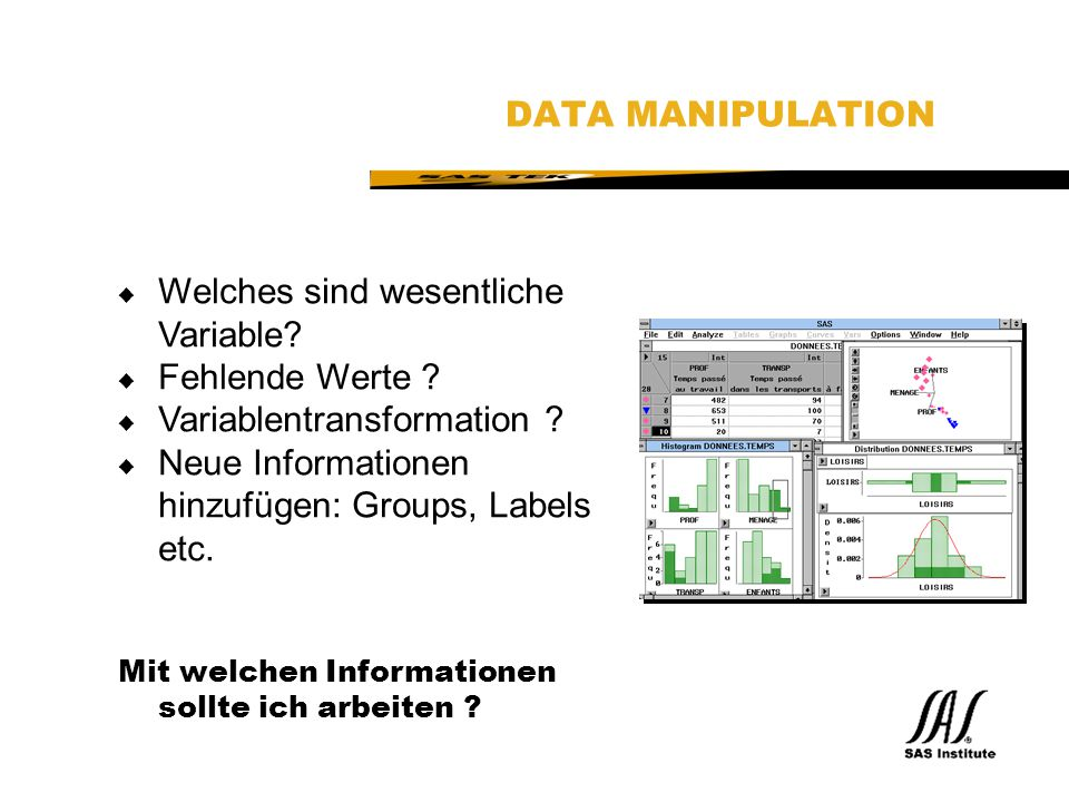 SAS Technical Expertise and Know-how ® DATA MANIPULATION u Welches sind wesentliche Variable.