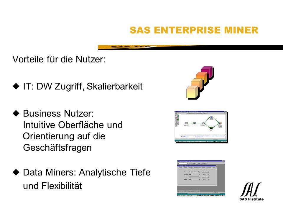 SAS Technical Expertise and Know-how ® SAS ENTERPRISE MINER Vorteile für die Nutzer: uIT: DW Zugriff, Skalierbarkeit uBusiness Nutzer: Intuitive Oberfläche und Orientierung auf die Geschäftsfragen uData Miners: Analytische Tiefe und Flexibilität