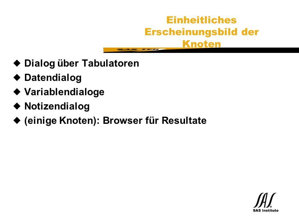 SAS Technical Expertise and Know-how ® Einheitliches Erscheinungsbild der Knoten uDialog über Tabulatoren uDatendialog uVariablendialoge uNotizendialog u(einige Knoten): Browser für Resultate