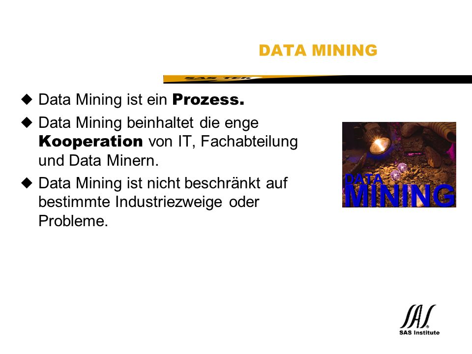 SAS Technical Expertise and Know-how ® SAS ENTERPRISE MINER Architektur Client-server Lösung:  Clients: Win 95, Win NT  Servers: Win NT, all major UNIX  Mainframe als Data Server, später auch Compute Server  Beta:Only Win95, Win NT initially.