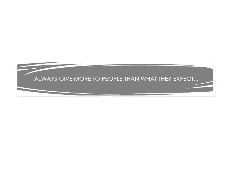 ALWAYS GIVE MORE TO PEOPLE THAN WHAT THEY EXPECT...