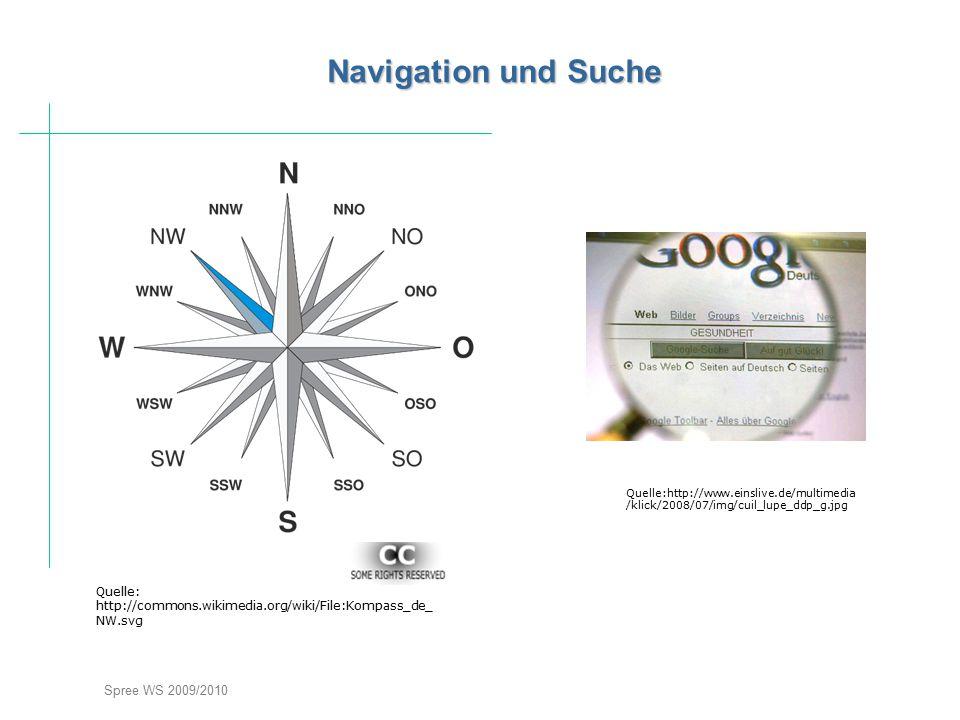 Spree WS 2009/2010 Navigation und Suche Quelle: http://commons.wikimedia.org/wiki/File:Kompass_de_ NW.svg Quelle:http://www.einslive.de/multimedia /kl