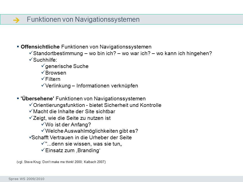 Funktionen von Navigationssystemen  Navigieren Seminar I-Prax: Inhaltserschließung visueller Medien, 5.10.2004 Spree WS 2009/2010  Offensichtliche Funktionen von Navigationssystemen Standortbestimmung – wo bin ich.