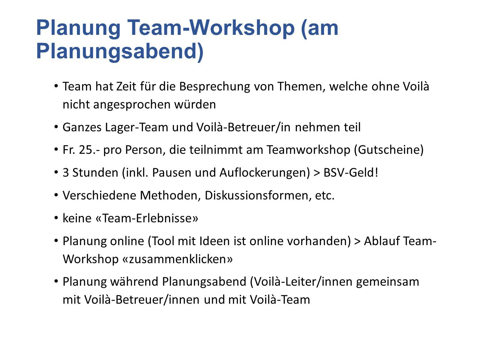 Planung Team-Workshop (am Planungsabend) Team hat Zeit für die Besprechung von Themen, welche ohne Voilà nicht angesprochen würden Ganzes Lager-Team u