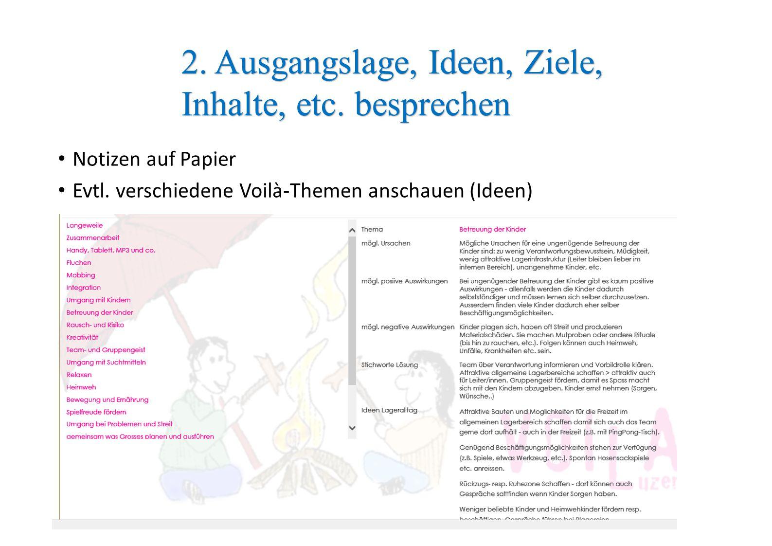 Notizen auf Papier Evtl. verschiedene Voilà-Themen anschauen (Ideen) 2. Ausgangslage, Ideen, Ziele, Inhalte, etc. besprechen