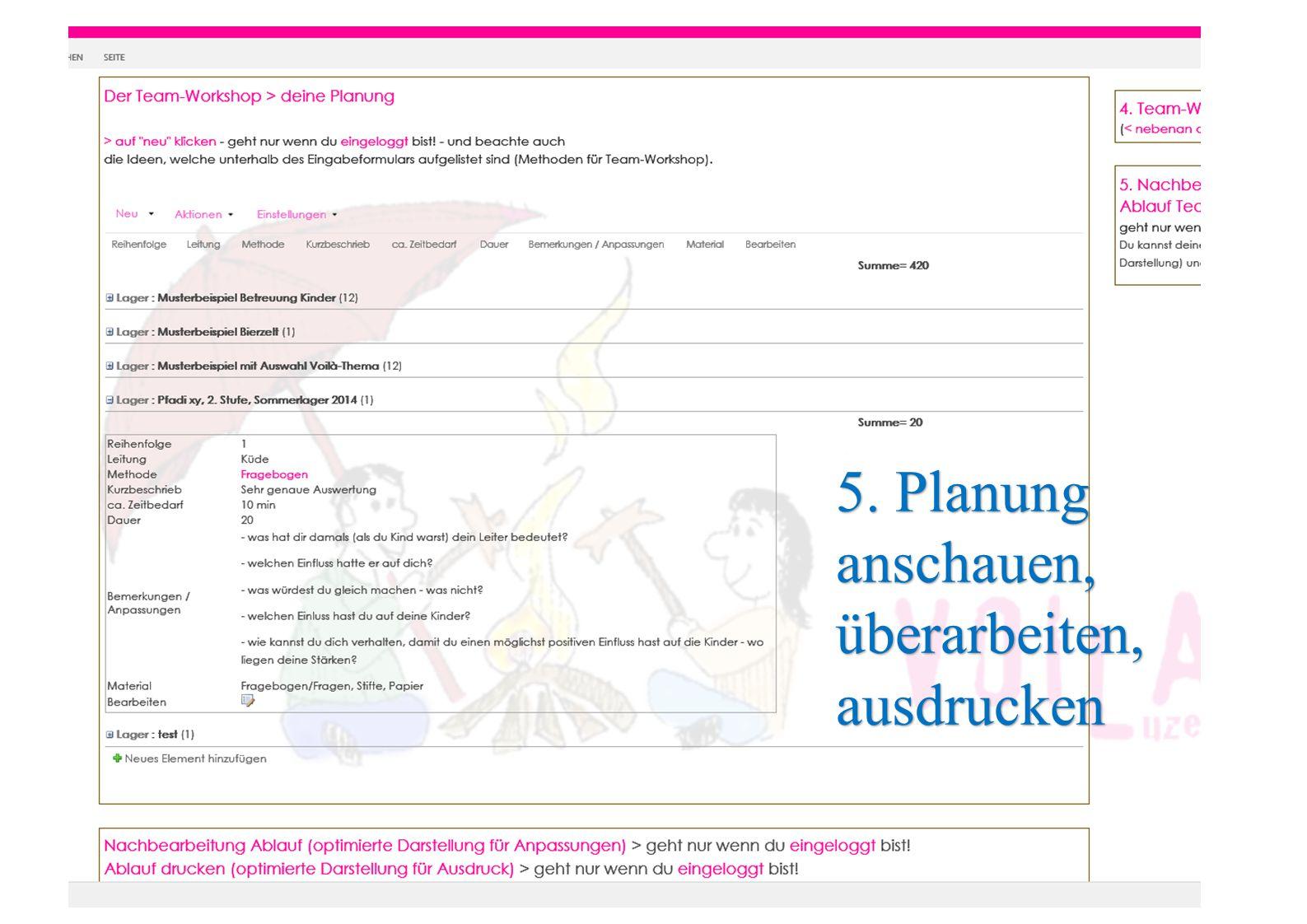 5. Planung anschauen, überarbeiten, ausdrucken