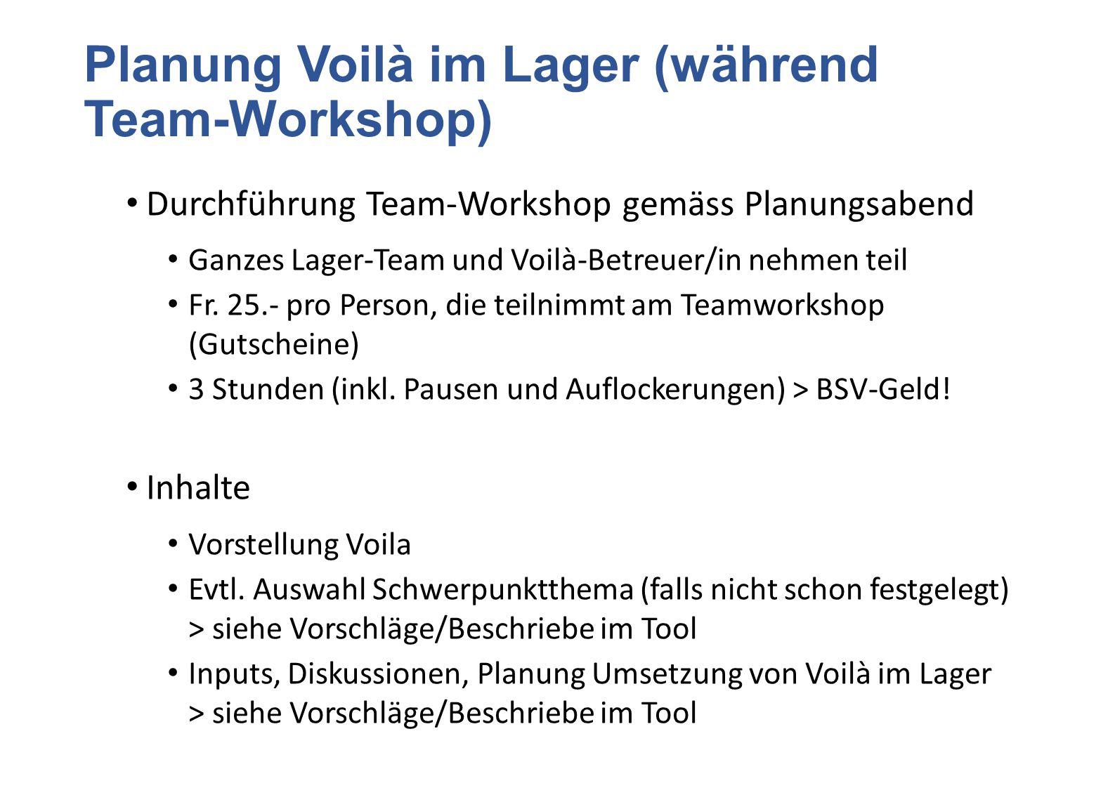 Planung Voilà im Lager (während Team-Workshop) Durchführung Team-Workshop gemäss Planungsabend Ganzes Lager-Team und Voilà-Betreuer/in nehmen teil Fr.