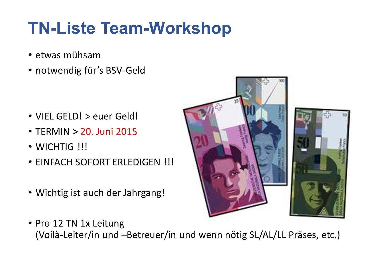 TN-Liste Team-Workshop etwas mühsam notwendig für's BSV-Geld VIEL GELD! > euer Geld! TERMIN > 20. Juni 2015 WICHTIG !!! EINFACH SOFORT ERLEDIGEN !!! W