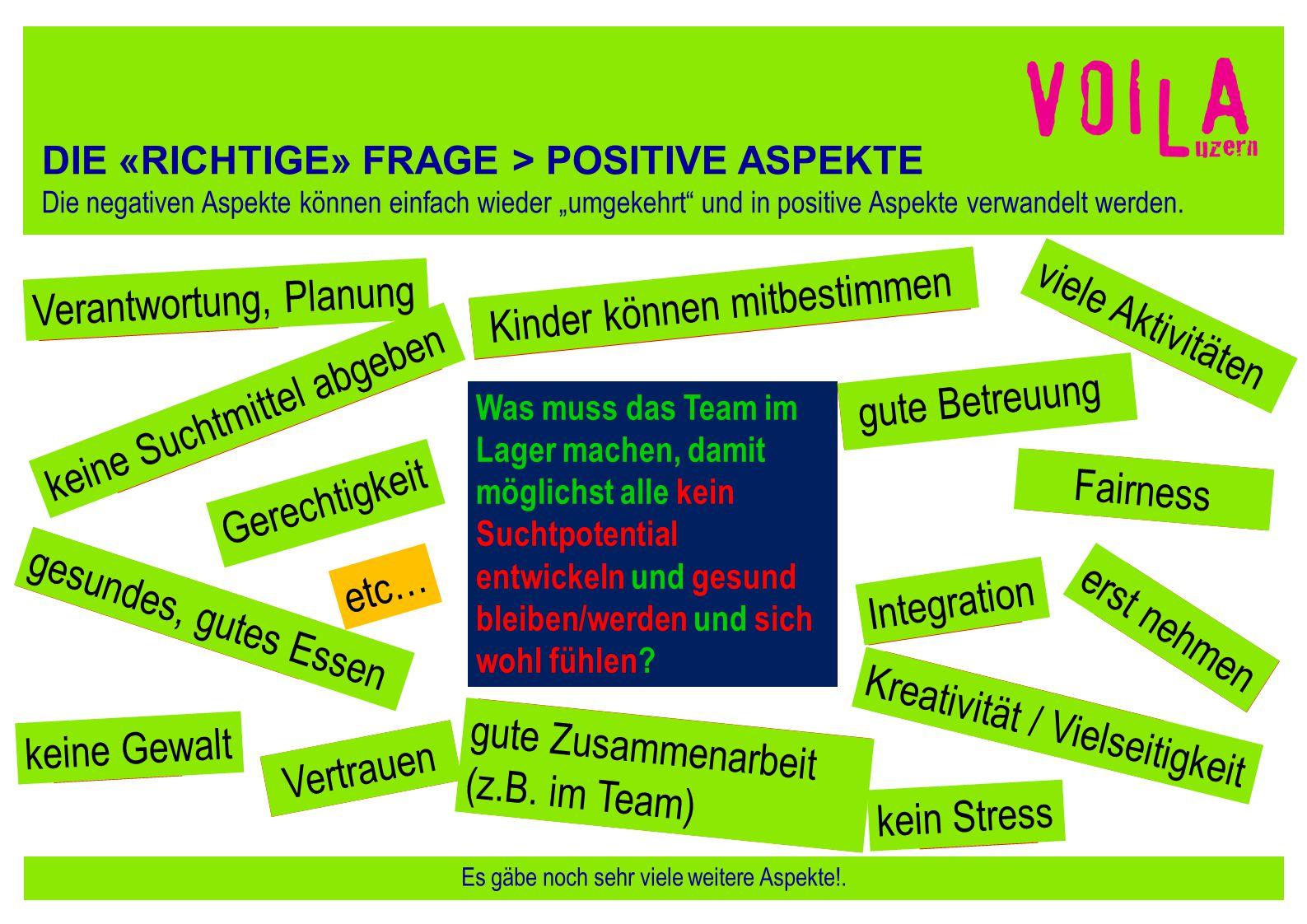 """DIE «RICHTIGE» FRAGE > POSITIVE ASPEKTE Die negativen Aspekte können einfach wieder """"umgekehrt"""" und in positive Aspekte verwandelt werden. Es gäbe noc"""