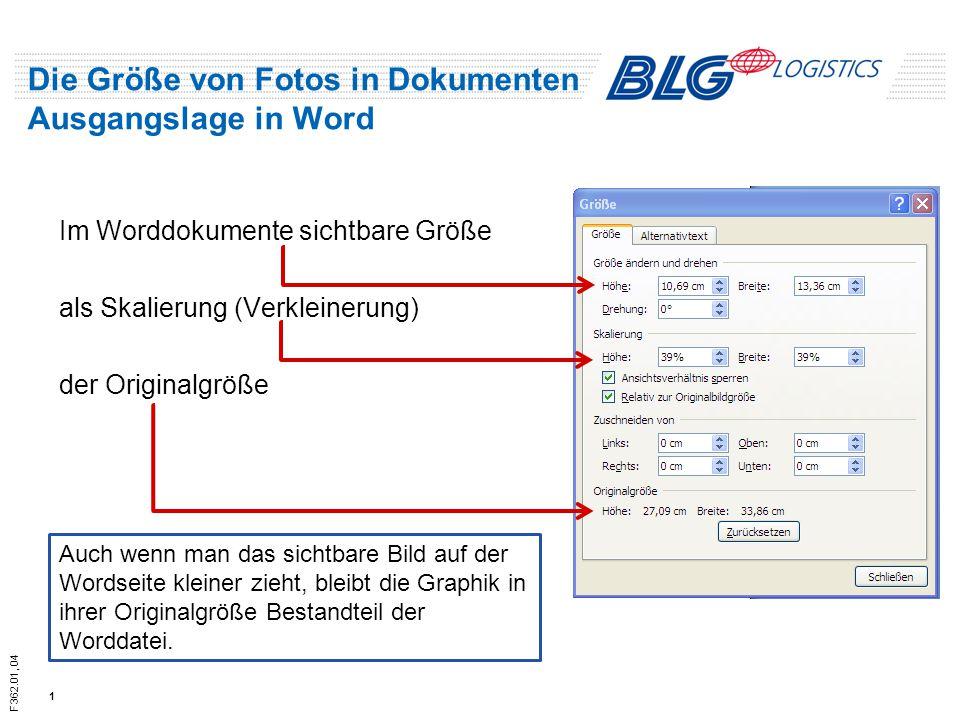 F362.01, 04 Die Größe von Fotos in Dokumenten Ausgangslage in Word Im Worddokumente sichtbare Größe als Skalierung (Verkleinerung) der Originalgröße 1 Auch wenn man das sichtbare Bild auf der Wordseite kleiner zieht, bleibt die Graphik in ihrer Originalgröße Bestandteil der Worddatei.