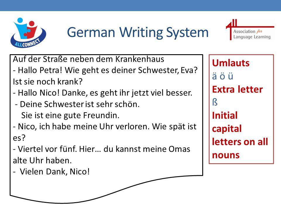 German Writing System Auf der Straße neben dem Krankenhaus - Hallo Petra.