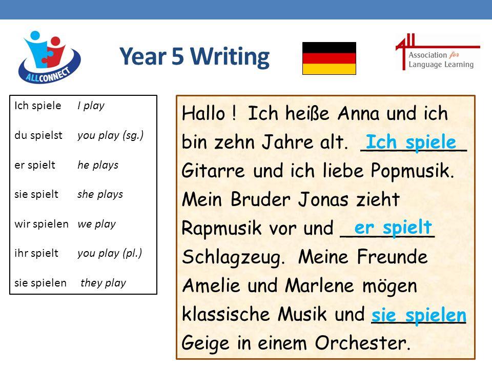 Year 5 Writing Hallo . Ich heiße Anna und ich bin zehn Jahre alt.