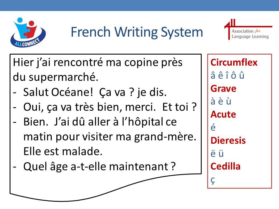 French Writing System Hier j'ai rencontré ma copine près du supermarché.