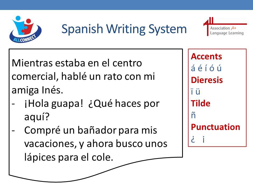 Spanish Writing System Mientras estaba en el centro comercial, hablé un rato con mi amiga Inés.