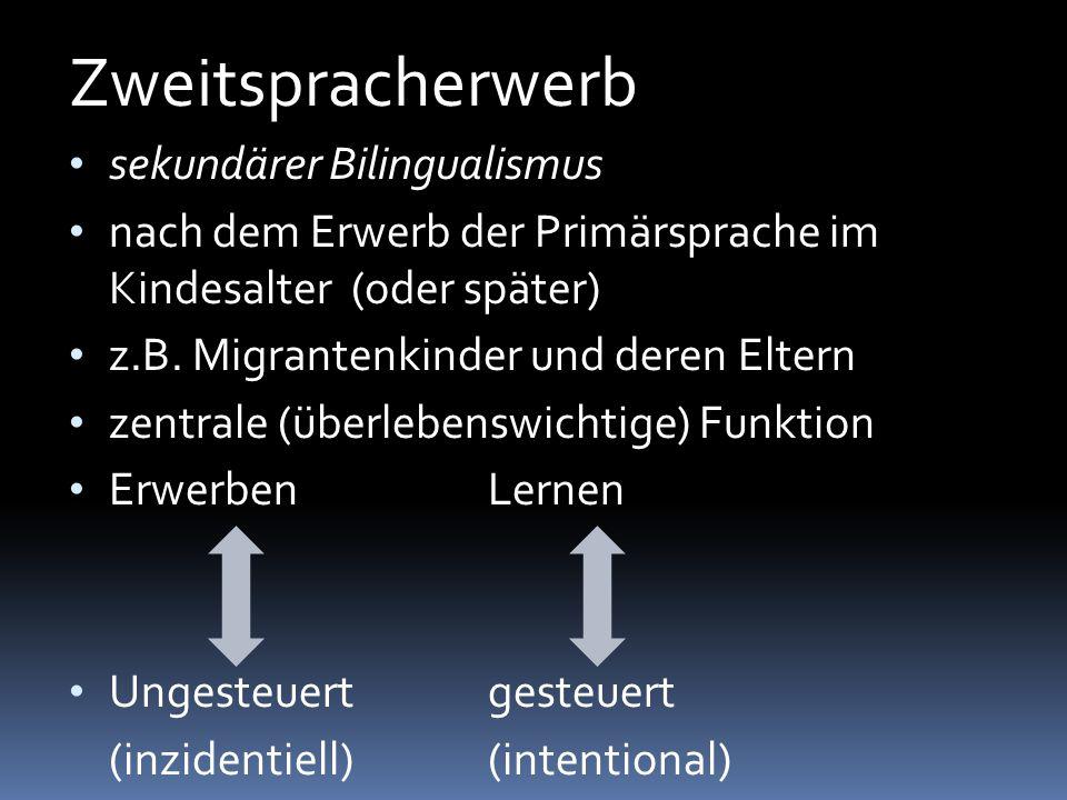 Zweitspracherwerb sekundärer Bilingualismus nach dem Erwerb der Primärsprache im Kindesalter (oder später) z.B. Migrantenkinder und deren Eltern zentr