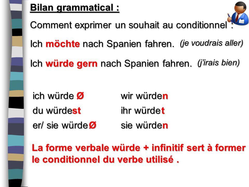 Bilan grammatical : Comment exprimer un souhait au conditionnel : Ich möchte nach Spanien fahren.