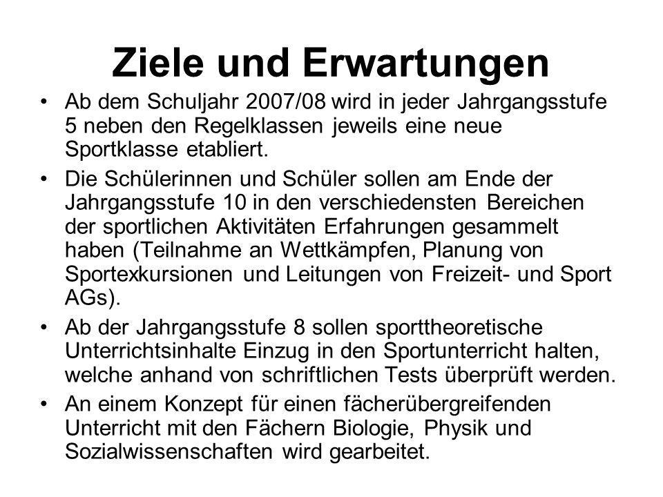 Ziele und Erwartungen Ab dem Schuljahr 2007/08 wird in jeder Jahrgangsstufe 5 neben den Regelklassen jeweils eine neue Sportklasse etabliert. Die Schü