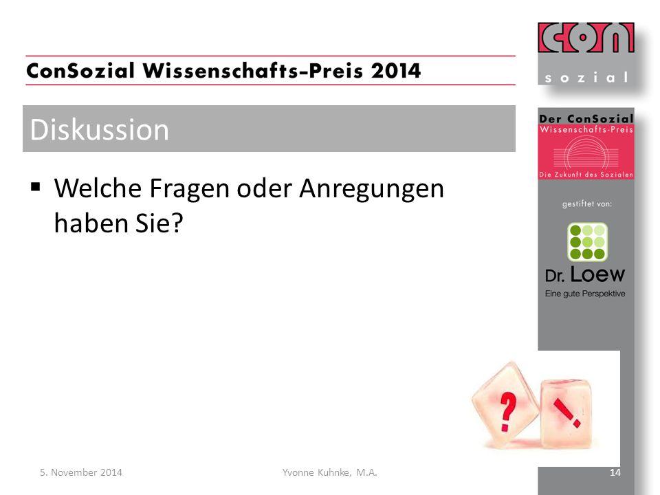  Welche Fragen oder Anregungen haben Sie? Diskussion 5. November 2014Yvonne Kuhnke, M.A.14