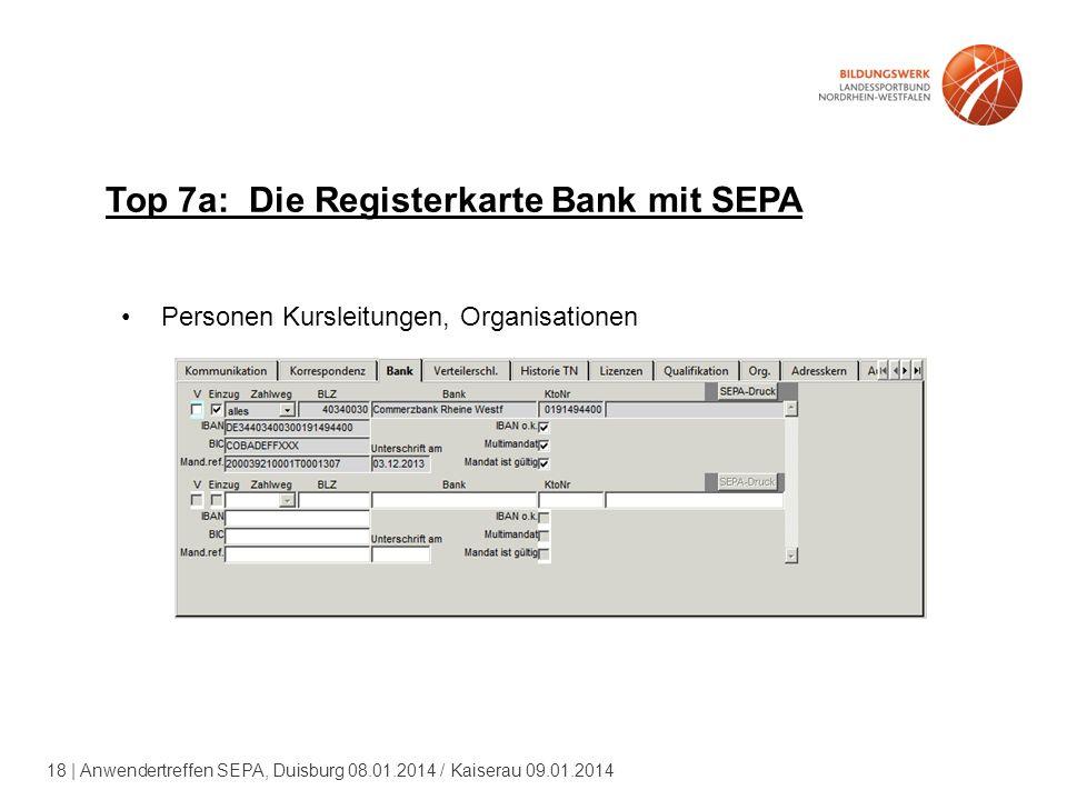 18 | Anwendertreffen SEPA, Duisburg 08.01.2014 / Kaiserau 09.01.2014 Top 7a: Die Registerkarte Bank mit SEPA Personen Kursleitungen, Organisationen