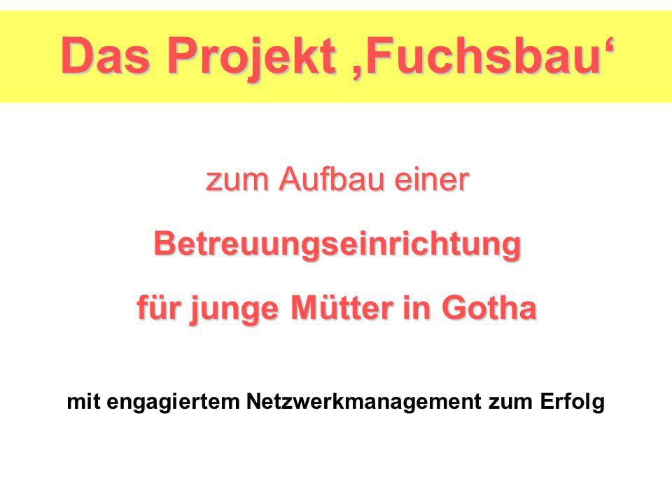 zum Aufbau einer Betreuungseinrichtung für junge Mütter in Gotha mit engagiertem Netzwerkmanagement zum Erfolg Das Projekt,Fuchsbau'