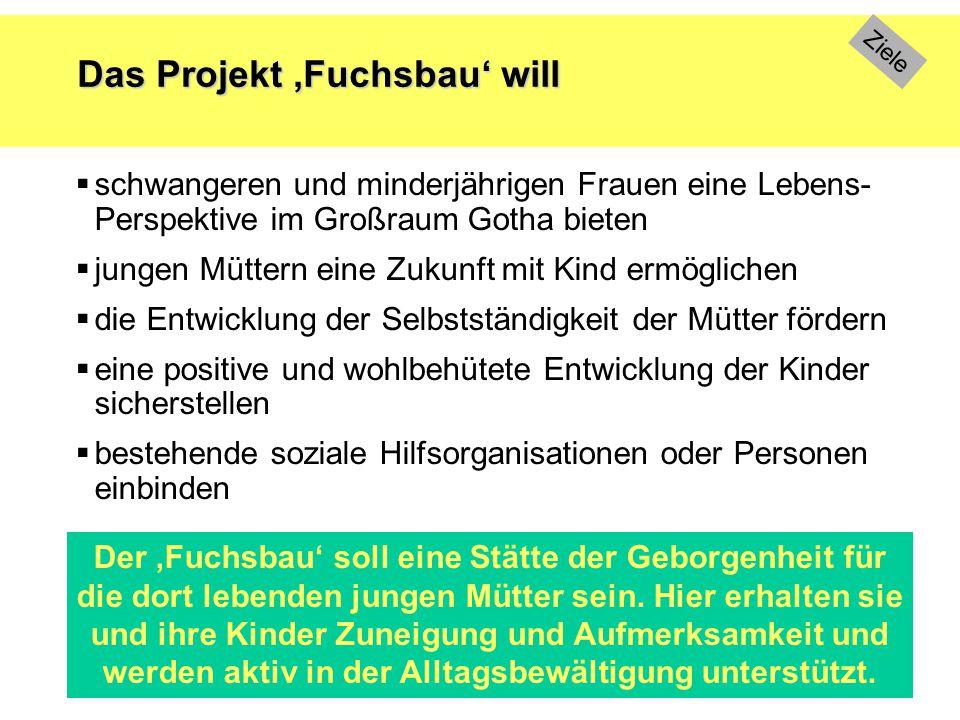 Das Projekt 'Fuchsbau' will  schwangeren und minderjährigen Frauen eine Lebens- Perspektive im Großraum Gotha bieten  jungen Müttern eine Zukunft mi