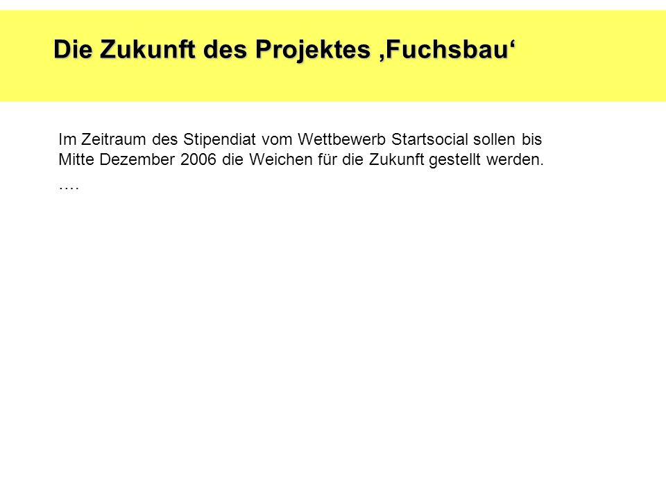 Die Zukunft des Projektes,Fuchsbau' Im Zeitraum des Stipendiat vom Wettbewerb Startsocial sollen bis Mitte Dezember 2006 die Weichen für die Zukunft gestellt werden.