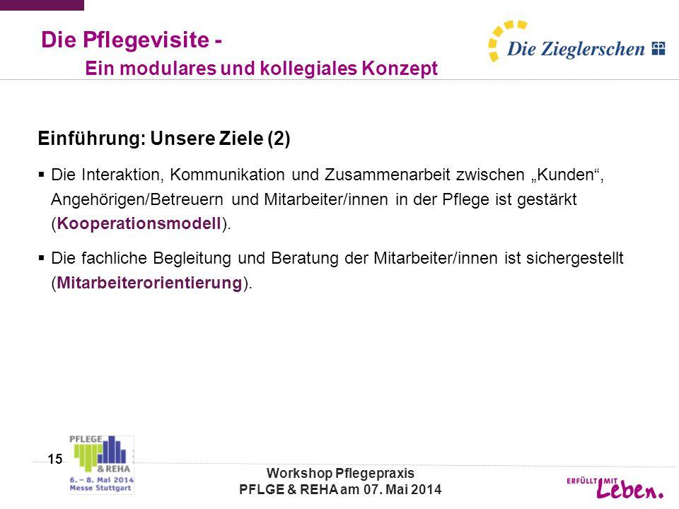 """Die Pflegevisite - Ein modulares und kollegiales Konzept Einführung: Unsere Ziele (2)  Die Interaktion, Kommunikation und Zusammenarbeit zwischen """"Ku"""