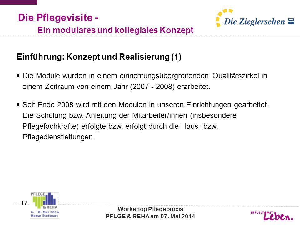 Die Pflegevisite - Ein modulares und kollegiales Konzept Einführung: Konzept und Realisierung (1)  Die Module wurden in einem einrichtungsübergreifenden Qualitätszirkel in einem Zeitraum von einem Jahr (2007 - 2008) erarbeitet.