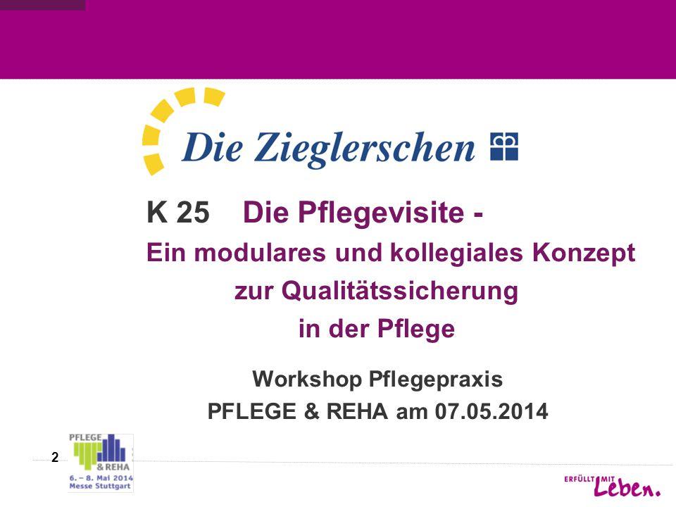 2 K 25 Die Pflegevisite - Ein modulares und kollegiales Konzept zur Qualitätssicherung in der Pflege Workshop Pflegepraxis PFLEGE & REHA am 07.05.2014