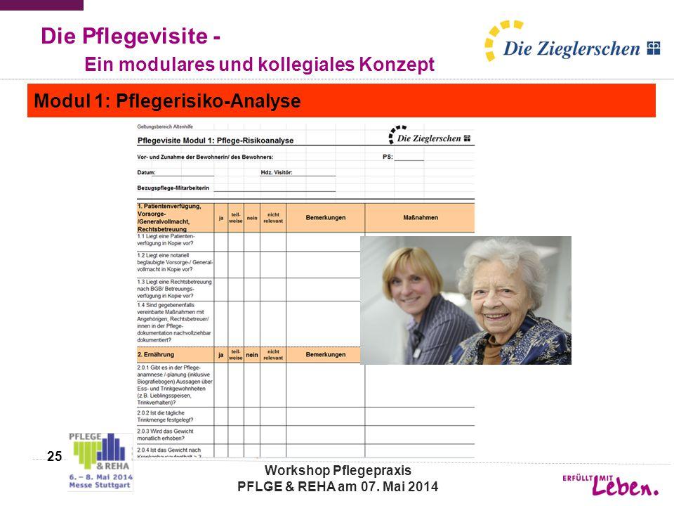 Die Pflegevisite - Ein modulares und kollegiales Konzept Modul 1: Pflegerisiko-Analyse 25 Workshop Pflegepraxis PFLGE & REHA am 07. Mai 2014