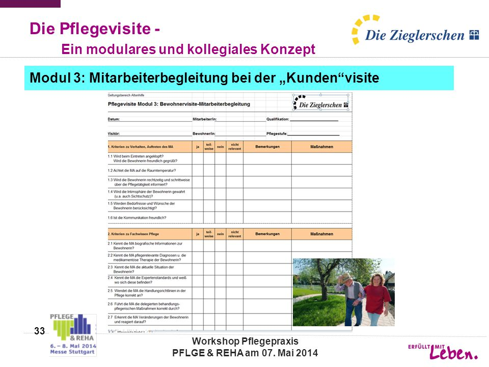 Die Pflegevisite - Ein modulares und kollegiales Konzept 33 Workshop Pflegepraxis PFLGE & REHA am 07. Mai 2014 Modul 3: Mitarbeiterbegleitung bei der