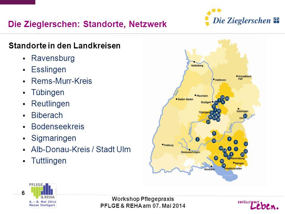 Die Zieglerschen: Standorte, Netzwerk Standorte in den Landkreisen  Ravensburg  Esslingen  Rems-Murr-Kreis  Tübingen  Reutlingen  Biberach  Bod