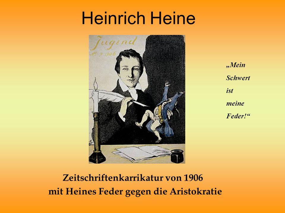 """Heinrich Heine Zeitschriftenkarrikatur von 1906 mit Heines Feder gegen die Aristokratie """"Mein Schwert ist meine Feder!"""""""