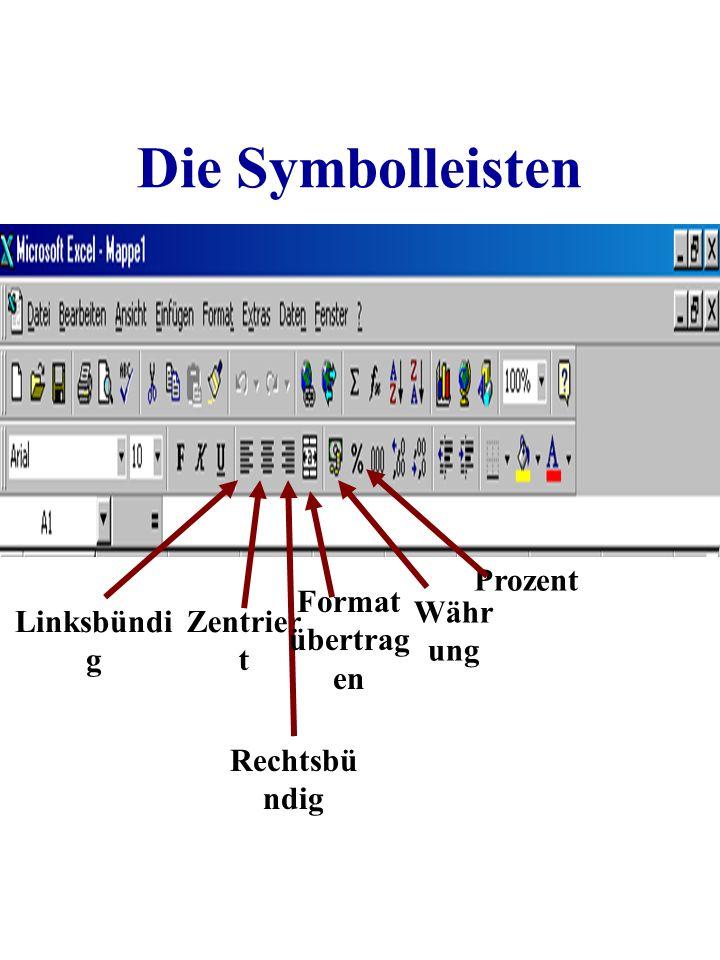 Die Symbolleisten Linksbündi g Zentrier t Rechtsbü ndig Format übertrag en Währ ung Prozent