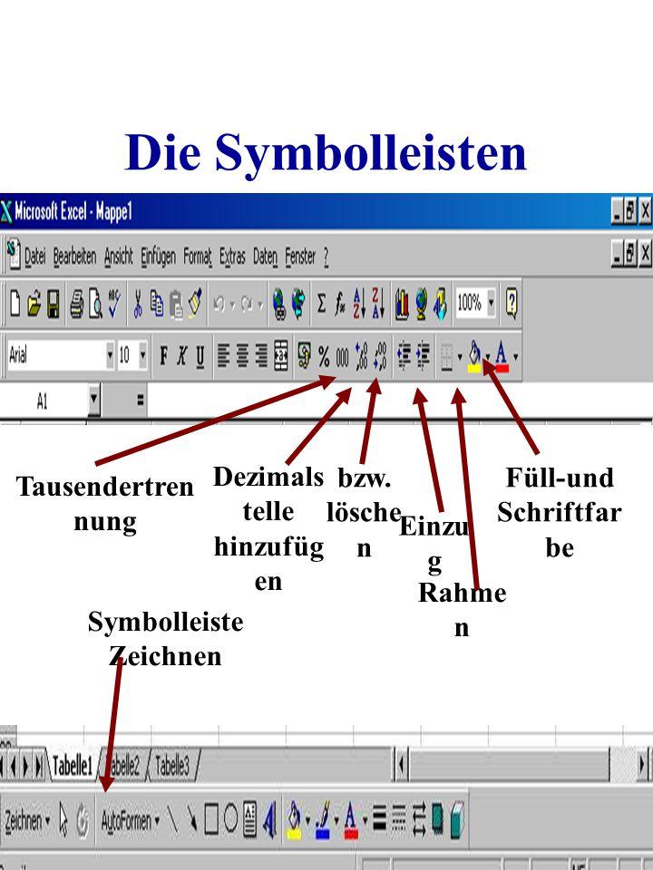 Die Symbolleisten Tausendertren nung Dezimals telle hinzufüg en bzw. lösche n Einzu g Rahme n Füll-und Schriftfar be Symbolleiste Zeichnen