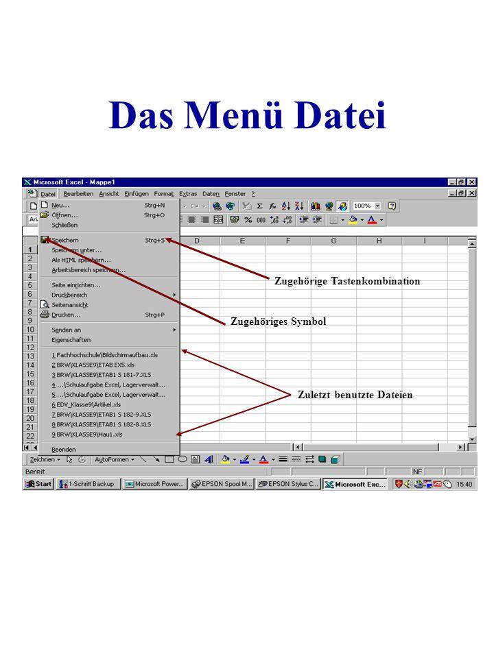 Das Menü Datei Zugehörige Tastenkombination Zugehöriges Symbol Zuletzt benutzte Dateien