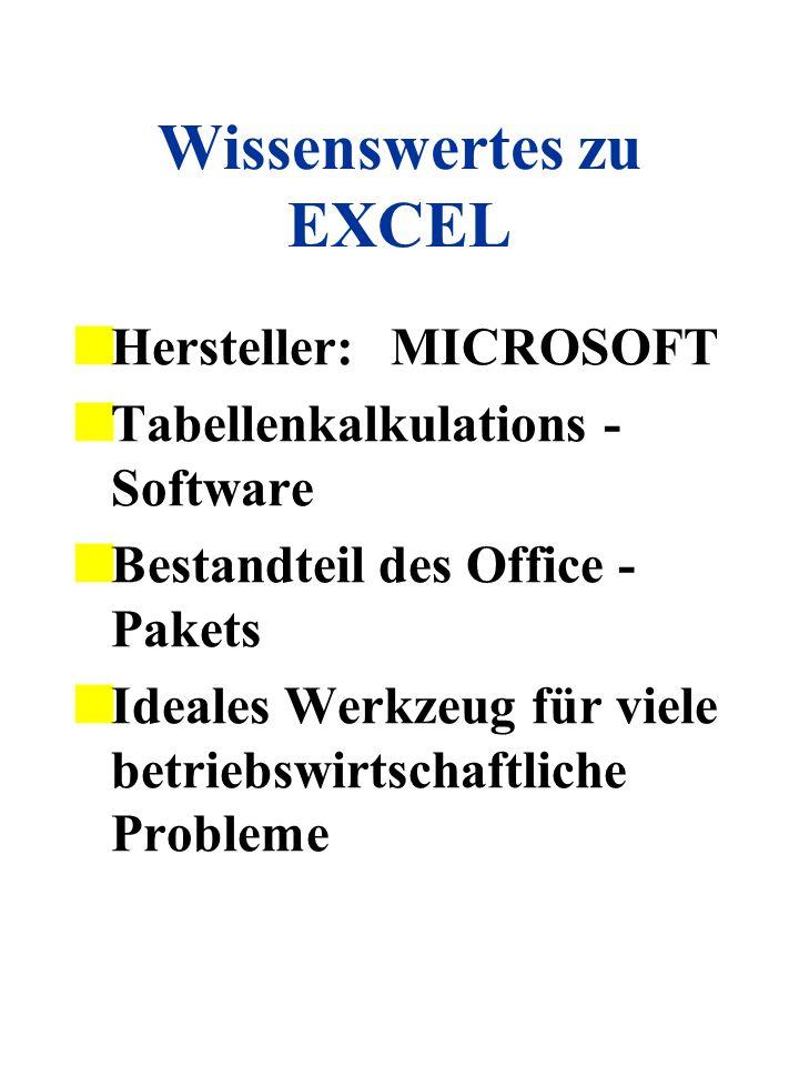 Wissenswertes zu EXCEL Hersteller:MICROSOFT Tabellenkalkulations - Software Bestandteil des Office - Pakets Ideales Werkzeug für viele betriebswirtsch