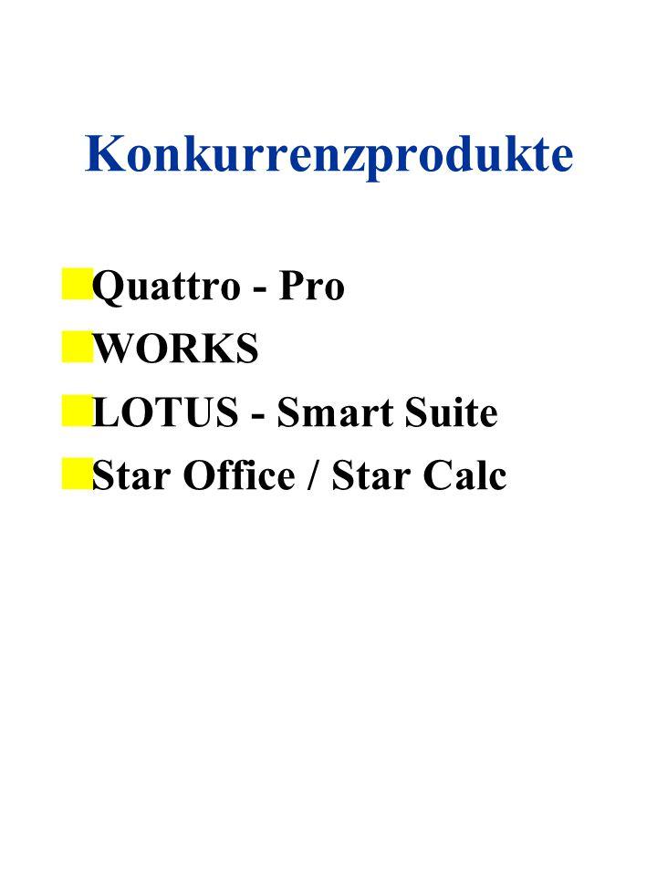 Konkurrenzprodukte Quattro - Pro WORKS LOTUS - Smart Suite Star Office / Star Calc