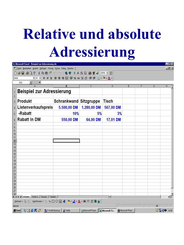 Relative und absolute Adressierung