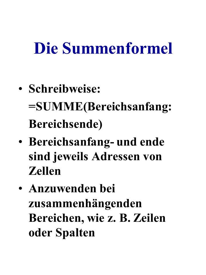 Die Summenformel Schreibweise: =SUMME(Bereichsanfang: Bereichsende) Bereichsanfang- und ende sind jeweils Adressen von Zellen Anzuwenden bei zusammenh