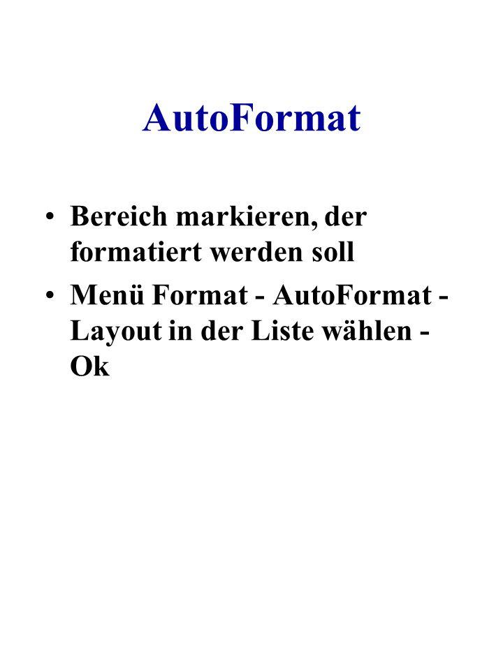 AutoFormat Bereich markieren, der formatiert werden soll Menü Format - AutoFormat - Layout in der Liste wählen - Ok