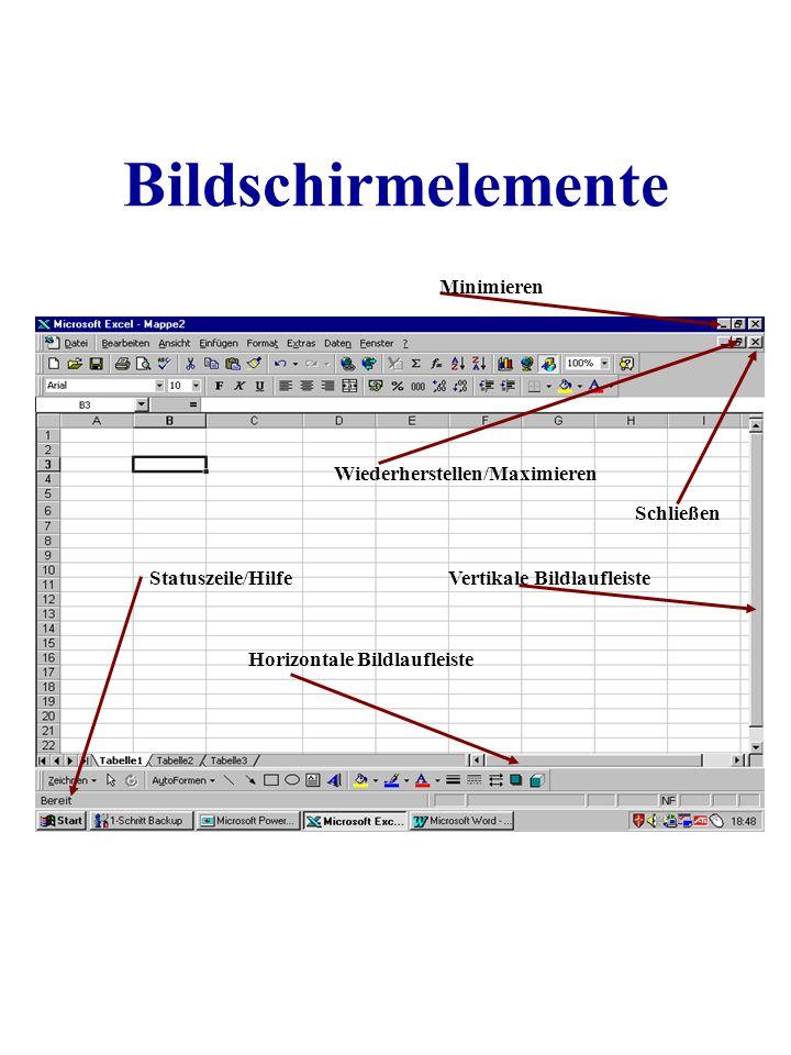 Bildschirmelemente Minimieren Wiederherstellen/Maximieren Schließen Vertikale Bildlaufleiste Horizontale Bildlaufleiste Statuszeile/Hilfe