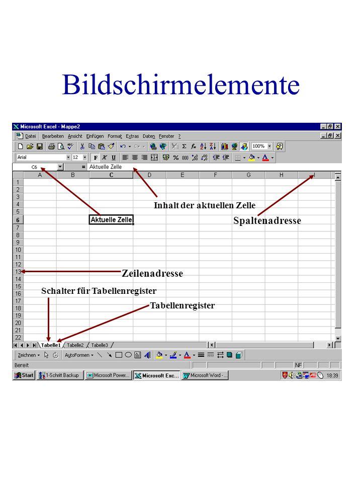 Bildschirmelemente Inhalt der aktuellen Zelle Spaltenadresse Zeilenadresse Tabellenregister Schalter für Tabellenregister