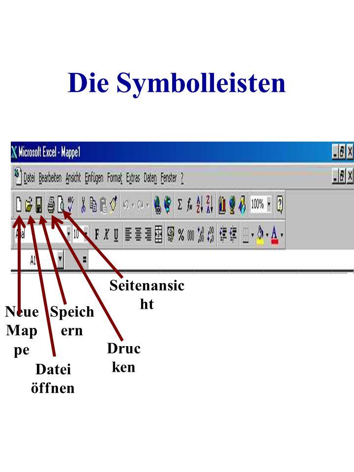 Die Symbolleisten Neue Map pe Datei öffnen Speich ern Druc ken Seitenansic ht