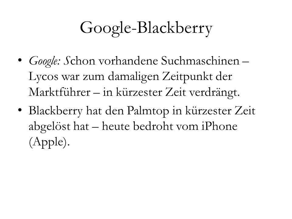 Google-Blackberry Google: Schon vorhandene Suchmaschinen – Lycos war zum damaligen Zeitpunkt der Marktführer – in kürzester Zeit verdrängt. Blackberry