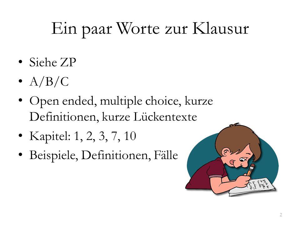 Ein paar Worte zur Klausur Siehe ZP A/B/C Open ended, multiple choice, kurze Definitionen, kurze Lückentexte Kapitel: 1, 2, 3, 7, 10 Beispiele, Defini